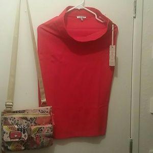 Iris Basic Bright Red Stretch Pencil Skirt